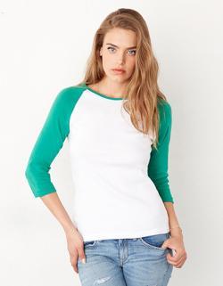 3 / 4-Sleeve Contrast Raglan Damen T-Shirt