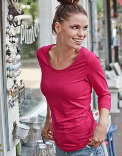 Ladies 3/4 Sleeve Stretch Damen T-Shirt