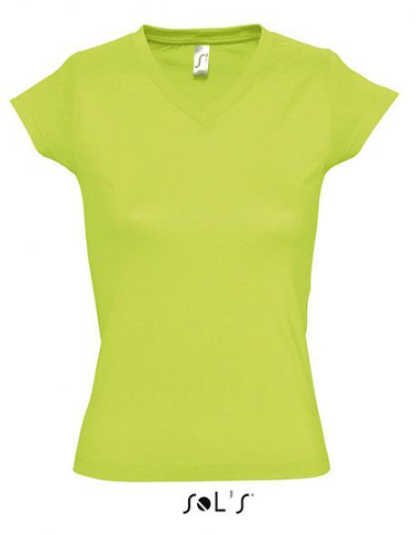 Ladies V-Neck Moon Damen T-Shirt