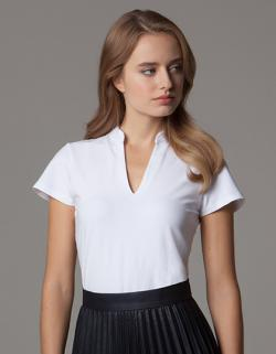 Corporate Top V Neck Mandarin Collar Damen T-Shirt
