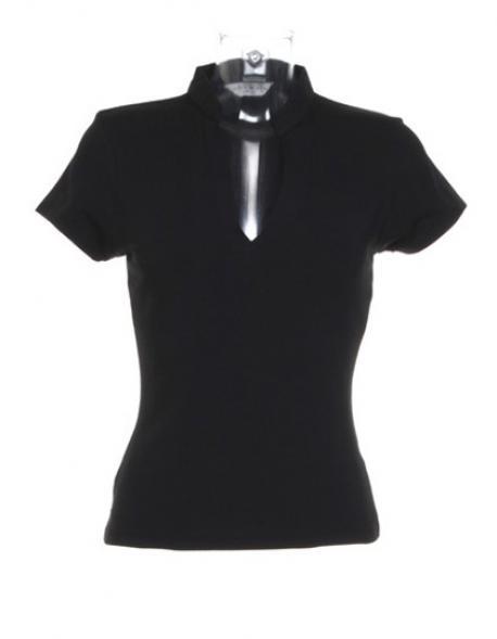 Corporate Top V Neck Mandarin Collar Damen T-Shirt