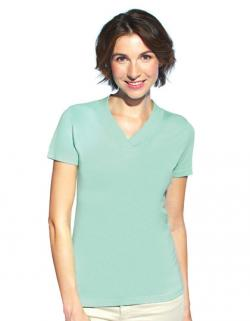 Women´s Rib V-Neck Damen T-Shirt