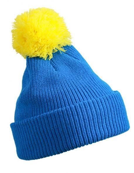 Pompon Wintermütze mit Brim