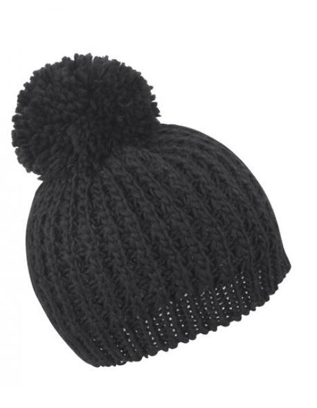 Knitted Flute Pom Pom Hat Wintermütze