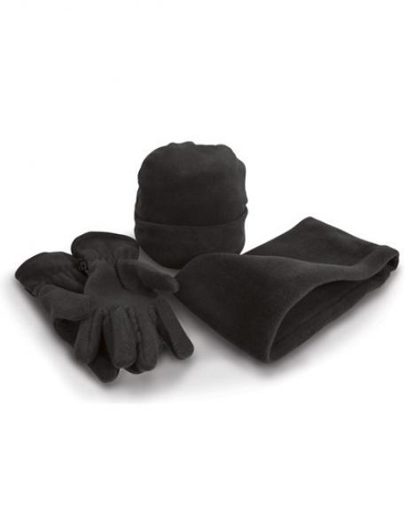 Fleece-Winterset: Mütze, Handschuhe, Nackenwärmer