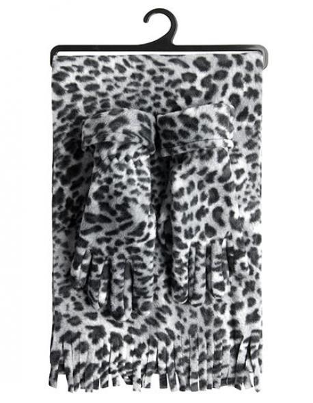 Damen Snow Leopard Set Handschuhe und Schal