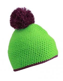 Pompon Hat with Contrast Stripe Wintermütze
