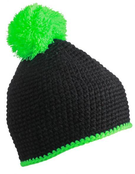 Pompon Hat with Contrast Stripe Wintermütze