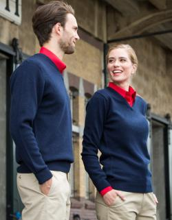 Lambswool V-Neck Jumper +100% Lammwolle