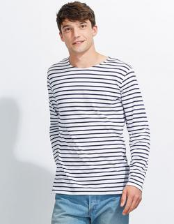 Herren Longsleeve Striped T-Shirt Marine gestreift