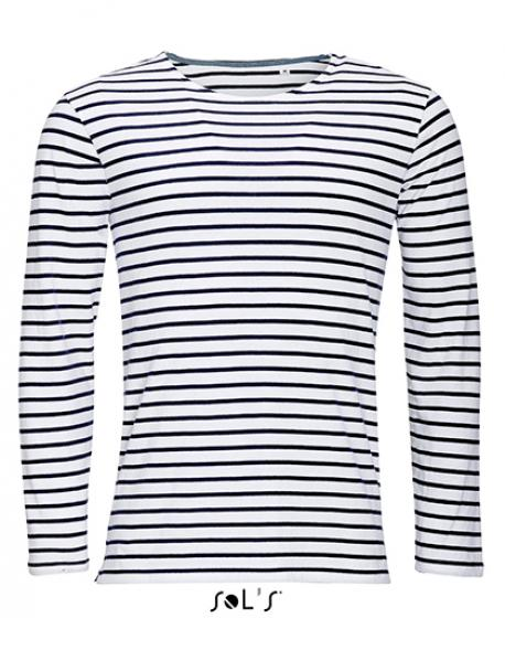 b95c8dcae88da5 Herren Longsleeve Striped T-Shirt Marine gestreift - Rexlander´s