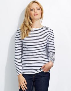 Damen Longsleeve Striped T-Shirt Marine gestreift