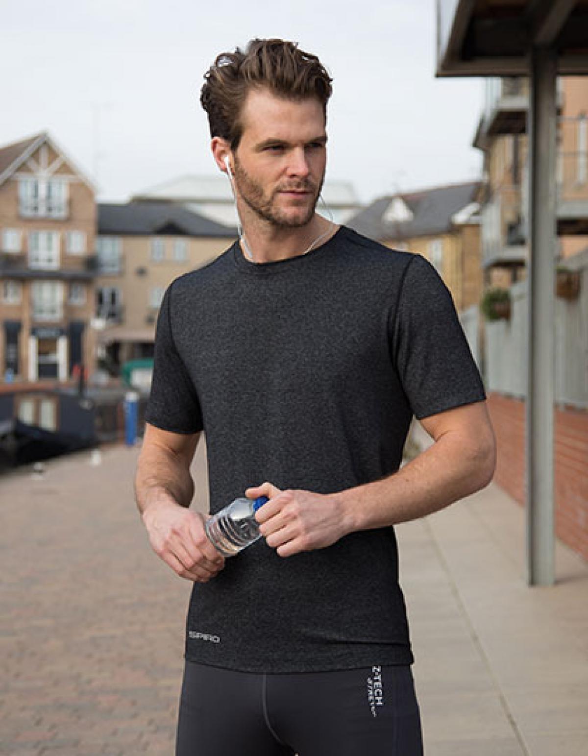 herren fitness t shirt shiny marl rexlander s. Black Bedroom Furniture Sets. Home Design Ideas