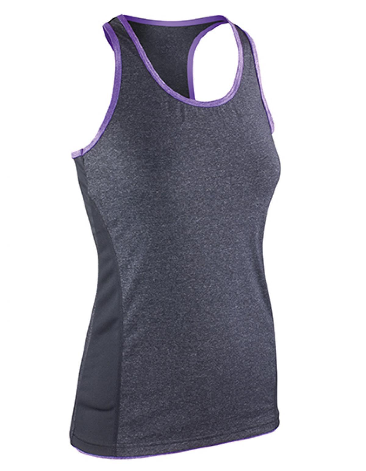 damen tank top fitness t shirt stringer back marl top. Black Bedroom Furniture Sets. Home Design Ideas