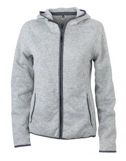Damen Kapuzen-Jacke aus Strick-Fleece in Melangeoptik