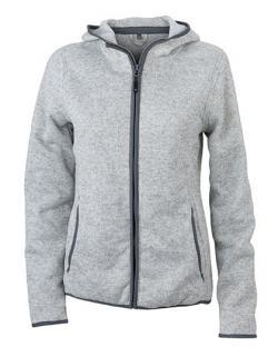 Damen Kapuzen-Jacke aus Strick-Fleece in Melangeoptik