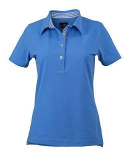 Damen Plain Poloshirt mit Besatz im Kragensteg