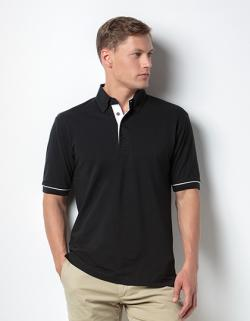 Button Down Collar Contrast Herren Polo Shirt / Oeko-Tex