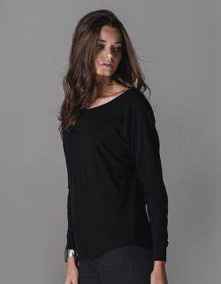 Damen Loose Fit Long Sleeve T-Shirt / Single-Jersey