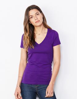 Damen Jersey Deep V-Neck T-Shirt / Länger geschnitten