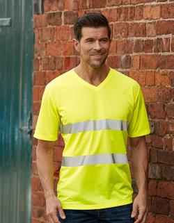 Herren Hi Vis Top Cool Super Light V-Neck Arbeits T-Shirt