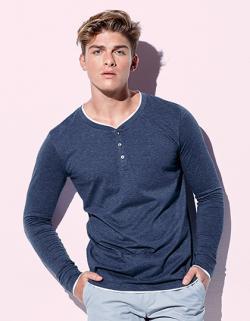 Herren Luke Long Sleeve Henley T-shirt / Waschbar bei 40 °C