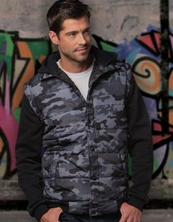 Herren Hooded Fleece Sleeved Puffer Vest
