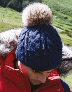Damenmütze Fur Pom Pom Cable Beanie / Luxus-Kunstfell-Bommel