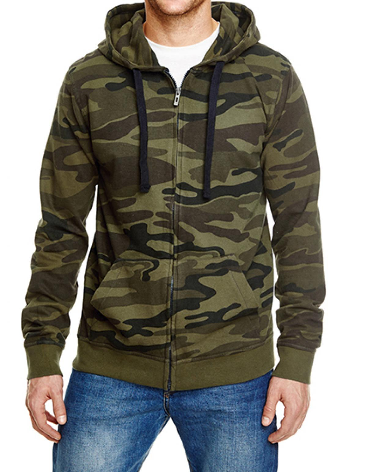 Burnside 8615 | Herren Jacke Full Zip Camo Hooded Fleece Jacket
