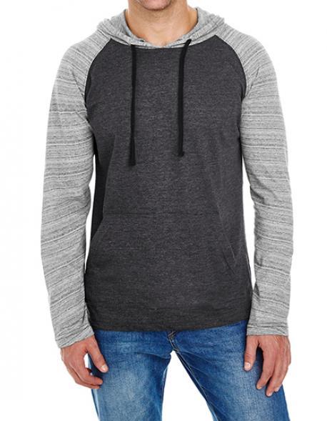Herren Sweatshirt Striped Sleeve Raglan Jersey Sweat