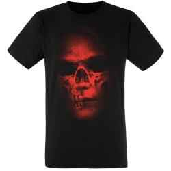 """Rotten Zombie Skull / Totenkopf"" Metal T-Shirt in rot"