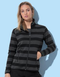 Damen Active Striped Fleece Jacket , Regular Fit
