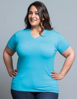 Damen Curves T-Shirt V-Neck, Tailliert geschnitten