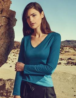 Damen V-Neck T-Shirt Longsleeve, Gekämmte Baumwolle