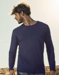 Herren Roundneck T-Shirt Longsleeve, Gekämmte Baumwolle