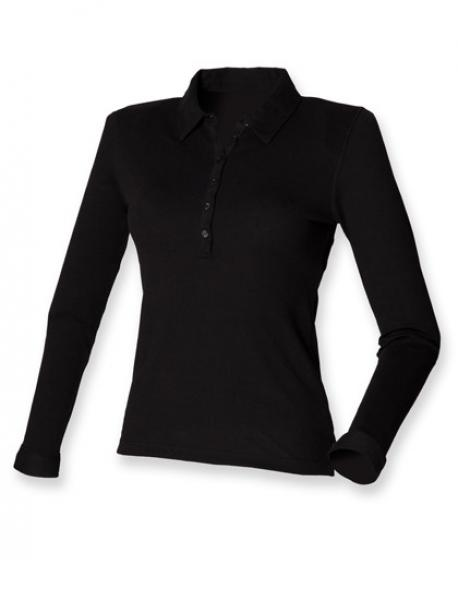 Ladies Long Sleeved Stretch Poloshirt - WRAP
